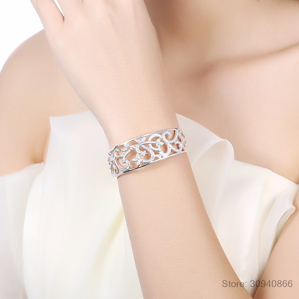 HTB1dXZ eBGE3KVjSZFhq6AkaFXaD LEKANI 925 Sterling Silver Hollow Branch Bracelets & Bangles For Women High Quality Elegant Lady Gift 925 Silver Fine jewelry