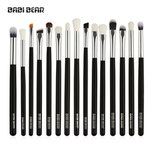 15Pcs Silver/Black Professional Makeup Brushes Set Make Up Brush Tools Kit Eye Liner Shader Natural Synthetic Hair High Quality