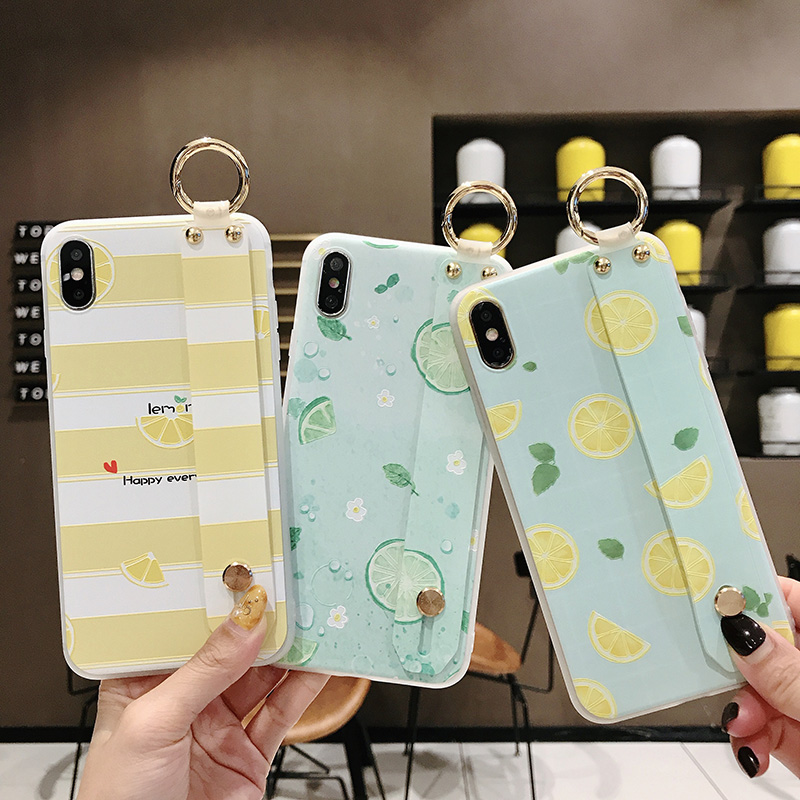 SoCouple Wrist Strap Phone Case For iphone Xs max Case For iphone X Xs XR 6 6S 7 8 plus Fruit Lemon Pattern Soft TPU Case Cover (1)
