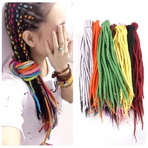 Image 2 - Desire for hair 1bundle 10strands 90cm 120cm long Nepal felted wool synthetic dreadlocks braids hair for kids and adult