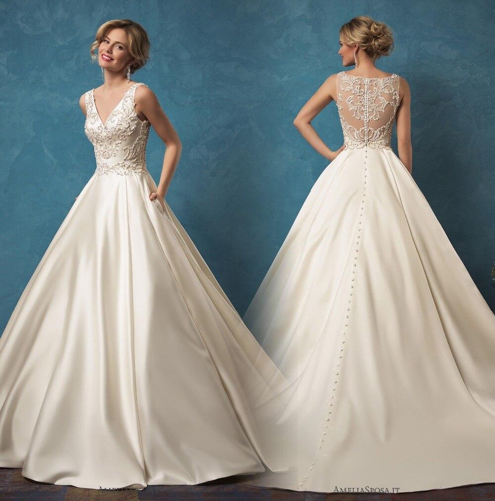 Vintage Wedding Gown Designers: Custom Made Satin Ball Gown Gorgeous Wedding Dresses