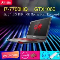 BBEN Ноутбук игровой компьютер Intel i7 7700HQ озеро Каби NVIDIA GTX1060 Windows 10 DDR4 8 ГБ Оперативная память RGB механическая клавиатура Wi Fi BT4.0