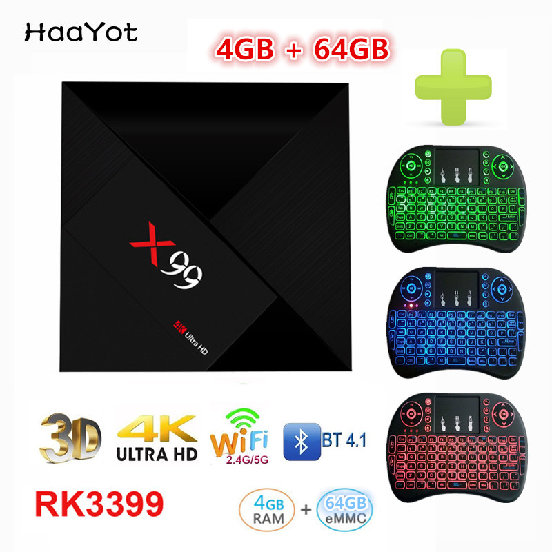 HAAYOT X99 RK3399 Hexa core Android 7 1 TV Box 4G 64G Rom 2 4 5G