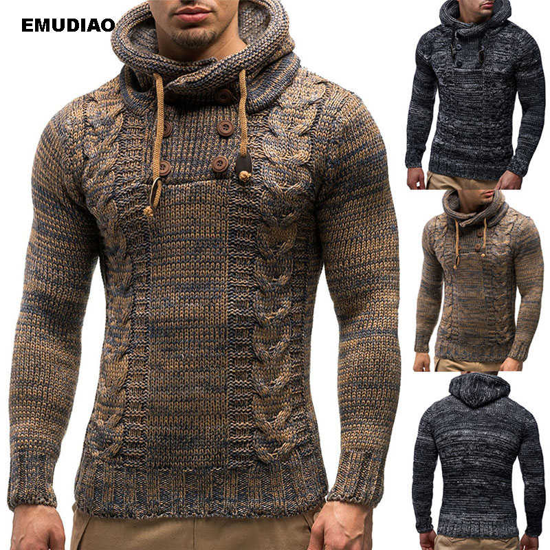 Knitted Men's Sweaters Blouse Long Sleeve Hooded Pullovers Sweater Men 2019 Autumn Winter Plus Size Knitwear Pull Homme 3XL