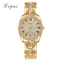 LVPAI Top Brand Gold Women Bracelet Watch Luxury Alloy Quartz Watches Women Fashion Luxury WatchWomen Dress