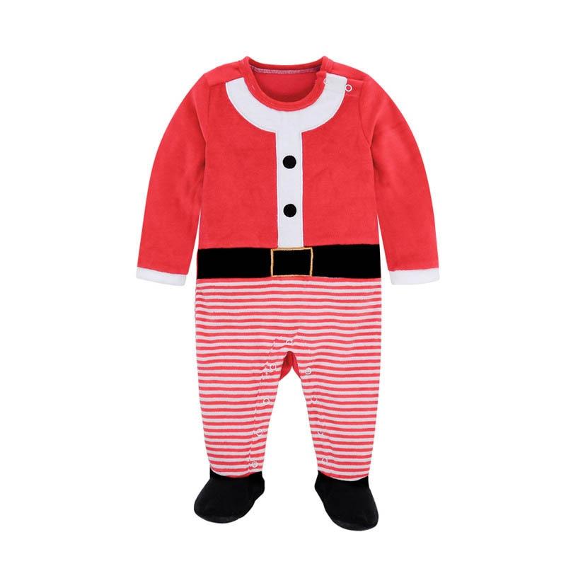 49539c5c63ff Newborn Baby Footies Velvet Autumn Winter Baby Coveralls Long Sleeve ...