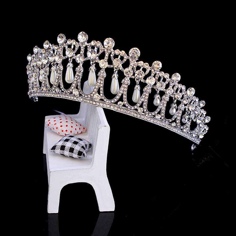 Baroque grande couronne de princesse royale accessoires de cheveux de mariage roi et reine couronne perle bijoux pour mariée tiare bandeau casque