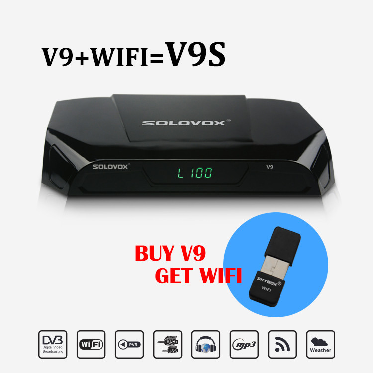 Original SOLOVOX V9 + WIFI DVB-S2 HD Satellite Receiver Support CCCAMD NEWCAMD With 6 months Wheel TV code 250+ UK LIVE channel 5pcs lot freesat v8 super dvb s2 satellite receiver support powervu biss key cccamd newcamd youtube youporn usb wifi
