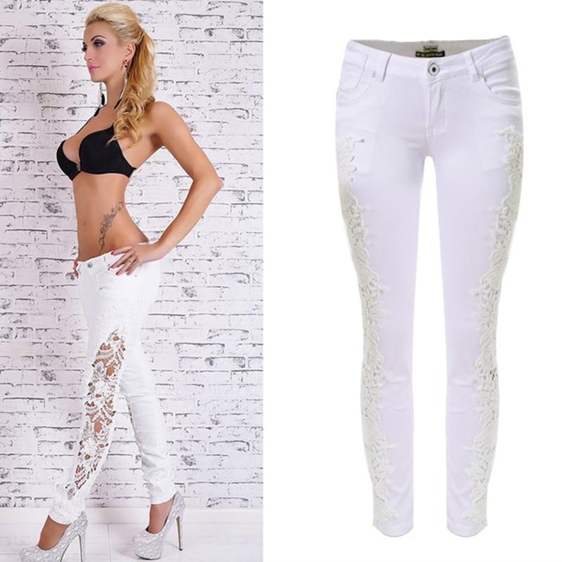 c359805f975 Мода вышивка карандаш брюки выдалбливают джинсы женские джинсы женские  джинсы Гетте кружева джинсовой жан брюки pantalones