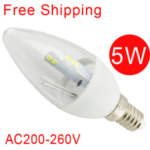 Free Shipping 10pcs led candle light E14 5W bulb lamp tube cool warm white 2835SMD CE&ROHS AC110V~240V 220V 240V