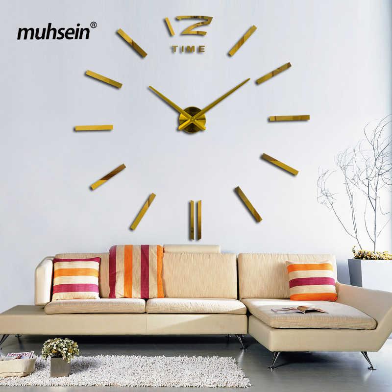 2020 yeni altın renk Freeshipping moda 3D 90x90cm boyutu ayna sticker DIY duvar saati s ev dekorasyon duvar saati toplantı odası