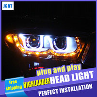 Car Styling for Toyota Highlander headlight assembly 2009 2011 Highlander led head lamp angel eye drl H7 with hid kit 2 pcs.