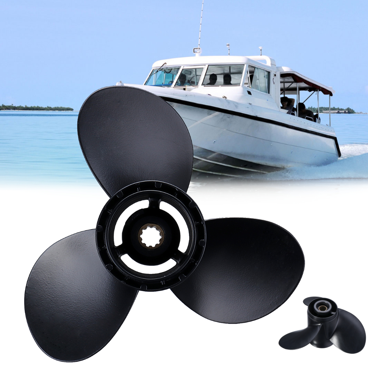 58100-96430-019 Boat Outboard Propeller 260mm x 12 for Suzuki 20-30HP 3 Blades 10 Spline Tooths Black R Rotation Aluminum Alloy