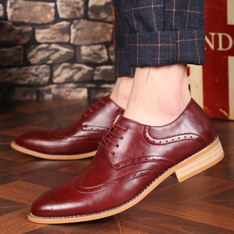 New Fashion Mens Dress Shoes Brogue Vintage Oxfords Lace Up  Breathable Formal Wedding Basic