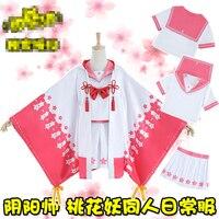 Hot Game Onmyoji Perzik Bloesem Demon JK Cos haori jas top + jurk Cosplay Kostuum + Gratis Verzending G
