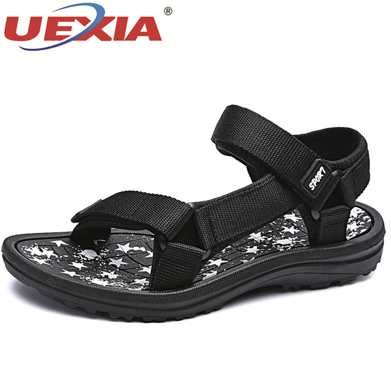 UEXIA 2018 Men Sandals Summer Slippers Shoes fashion beach Sandals Casual Flats Slip On Flip Flops Men Hollow Shoes Sandalias