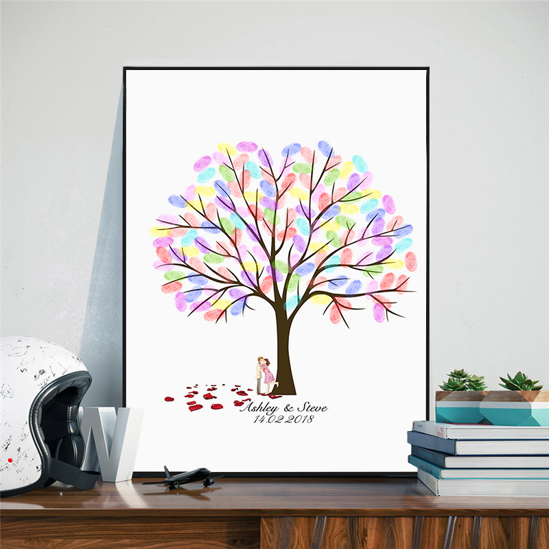 Haochu Fingerprint Love Tree Casamento Personalized Names And Date Wedding Canvas Art Painting Guest Book Party Decoration In Calligraphy From