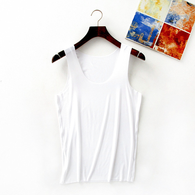 2017 summer new men undershirt seamless vest loose solid breif basic plus size modal male tank top
