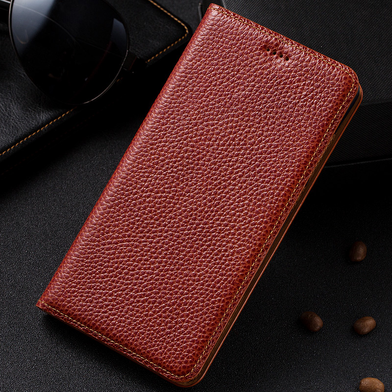 imágenes para Vintage Del Grano Del Lichí Funda De Cuero Genuino Para Nokia Lumia 950 XL 950XL Teléfono Del Tirón de Lujo Del Soporte Cubierta de Cuero de Vaca