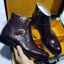 2 цвета; высокое качество; натуральная крокодиловая кожа; Мужская модная обувь с подкладкой из натуральной воловьей кожи; Мужская обувь для отдыха на молнии