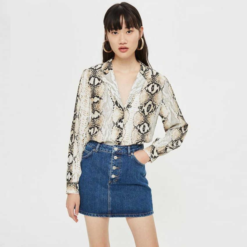 Новинка 2019 года; стильные модные осенние женские пикантные шифоновые блузки в богемном стиле с принтом змеиной кожи; свободные топы с длинными рукавами