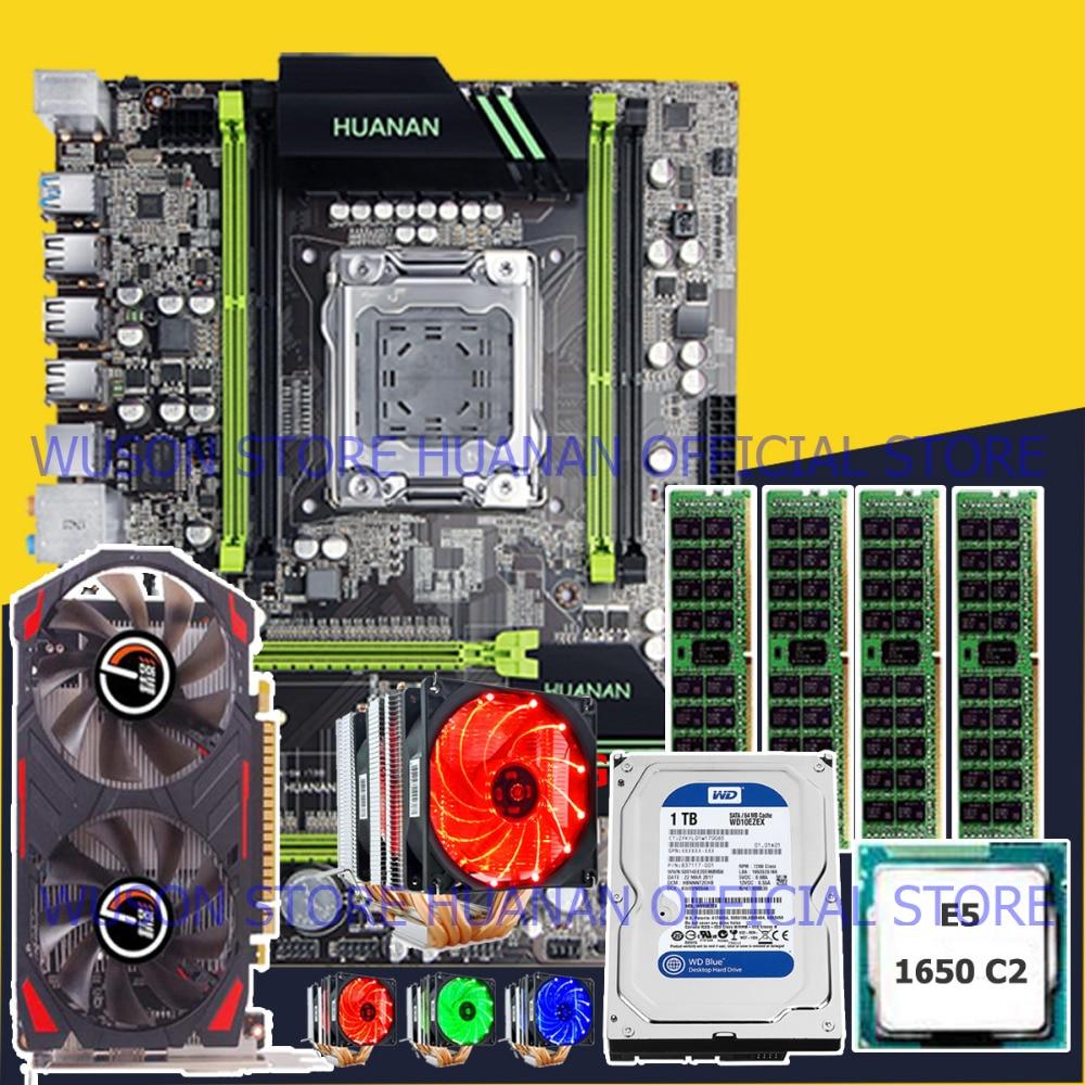 Ordinateur bricolage HUANAN ZHI remise X79 carte mère CPU Xeon E5 1650 3.2 GHz RAM 16G (4*4 g) RECC 1 TO SATA HDD vidéo carte GTX750Ti 2G