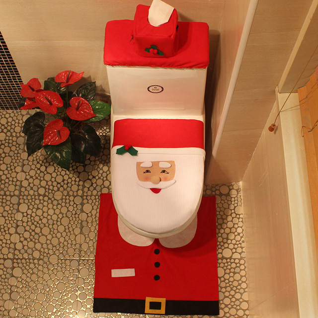 3pcs Elk Santa Claus Snowman Elf Toilet Seat Cover Rug Bathroom Set Contour Christmas Decoration