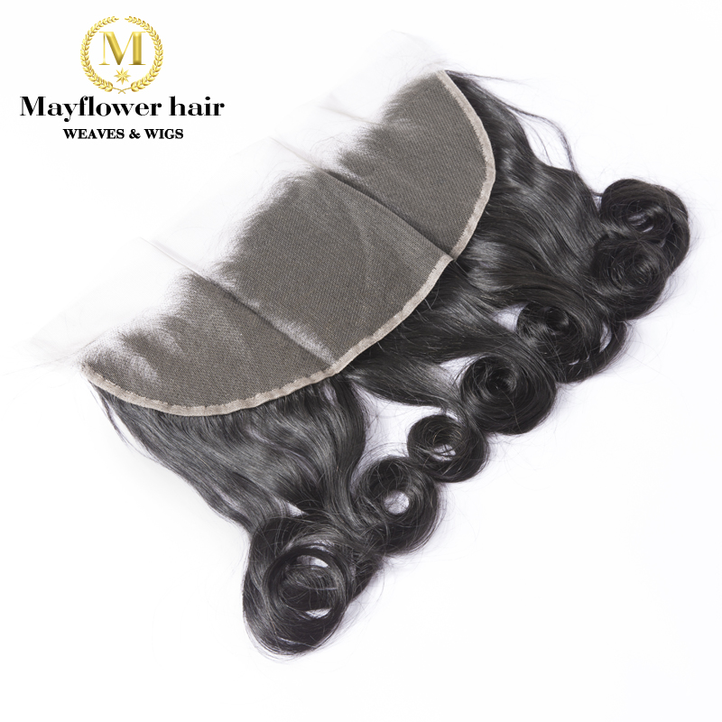 "MFH 13x4 "" Lace Frontal  Funmi Hair Egg Curl Ear To Ear Baby Hair Line Free Parting 8""-18"" Natural Black Remy Hair Products"