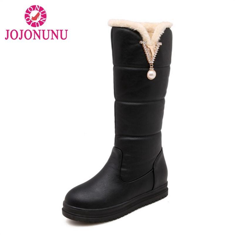 9cbb494a95f25d Rond De Bottes Femmes 32 Bout blanc rouge Jojonunu Appartements Genou  Chaussures D'hiver Épaisse Chaud ...