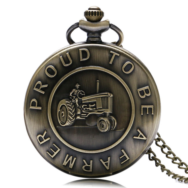 "Antique Bronze Harvester Design ""Proud To Be A Farmer"" Words Pocket Watch High Q"