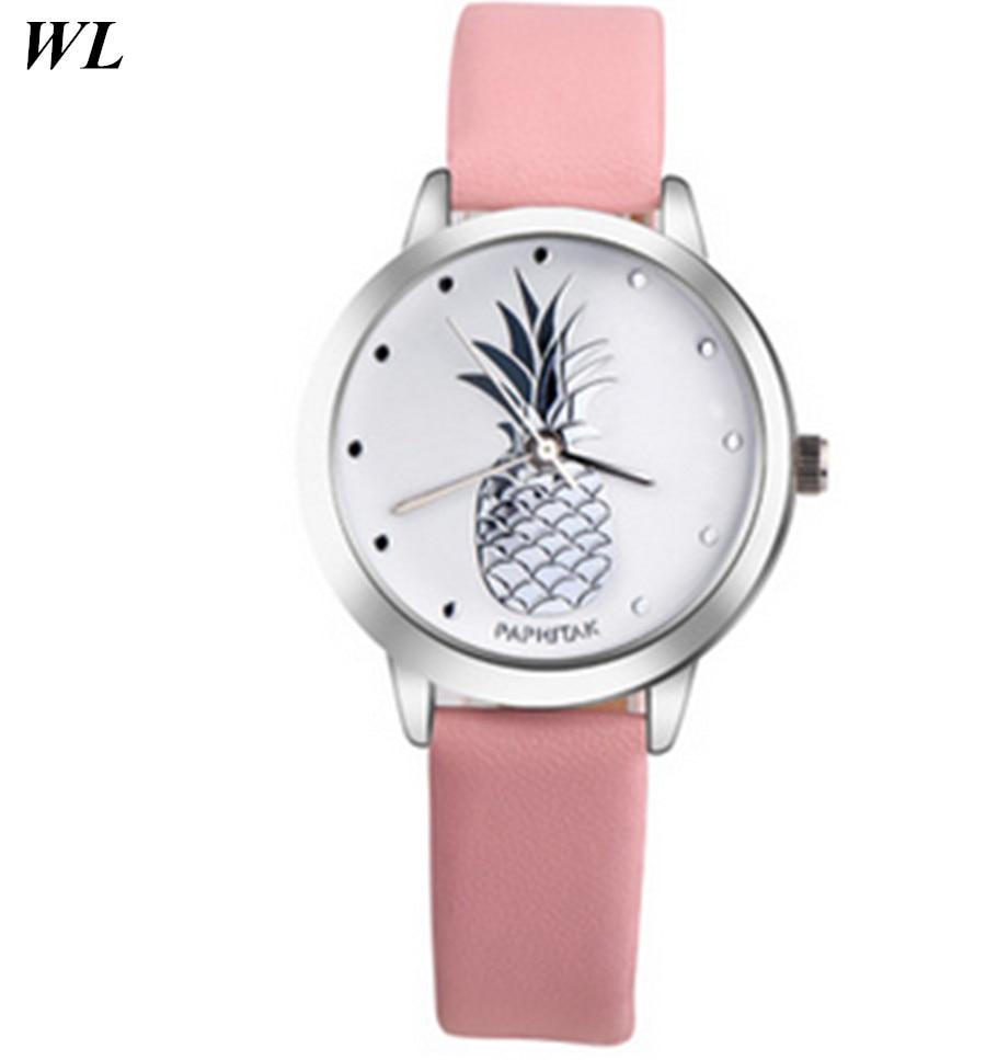 10pcs/lot Wholesales Hot Sale Fashion 7Colors Women Simple Casual Student Watch Pineapple Fruit Quartz Small Leather Wristwatch