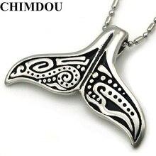 CHIMDOU Прекрасный Whale Tail Подвеска Из Нержавеющей Стали Ожерелье Цепи для мужчин или женщин, рождественский подарок, РОК Байкер Райдер Ювелирные Изделия
