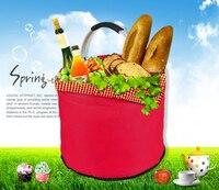 20L Foldable Bucket Oxford With Aluminum Frame Insulation Picnic Basket Fruit Snacks Vegetables Red Wine Storage Shopping Backet