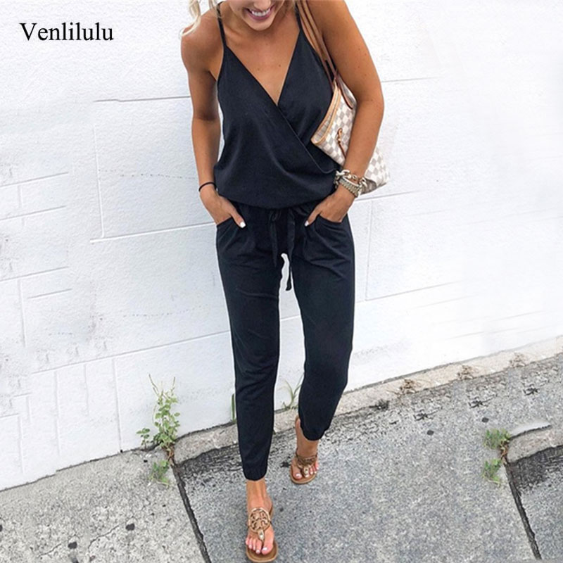 2019 Summer Women Elegant Jumpsuit Romper Sexy Deep V-neck Black Jumpsuit Female Jumpsuit Ladies Party Jumpsuits Women Rompers