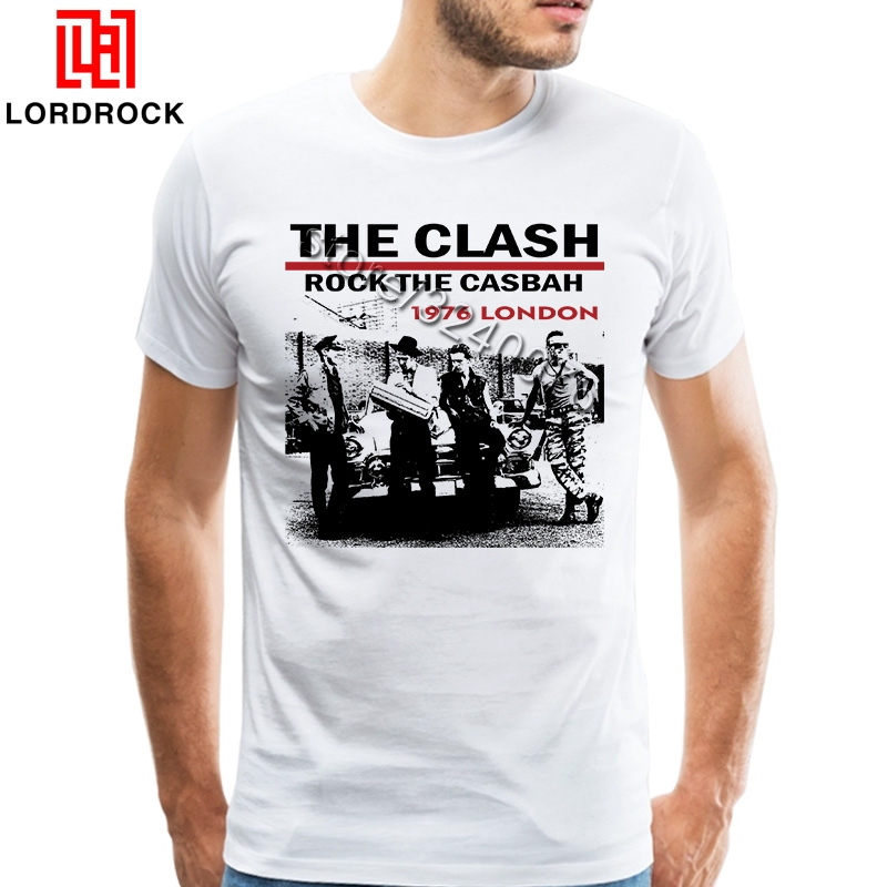 Vintage UK PUNK Band Rock The Clash   T     Shirts   Young Men 1976 London Tee Fashion   T  -  Shirts   Party Large and Tall Clothing Tshirt