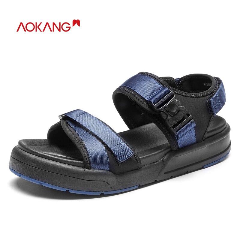 Casual grey183730107 Hard Homens Verão Confortáveis Homem Sandálias 2018 wearing Moda Black183730106 Lazer blue183730109 Sapatos Respirável red183730108 De Da Aokang THRqxwT