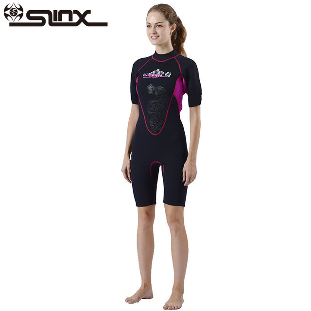 90f77d148d SLINX Shorty Wetsuit Women Short Sleeve 3mm Neoprene Wetsuits for Waterski Snorkel  Surf Diving Sailing Kayak Women Swimsuit