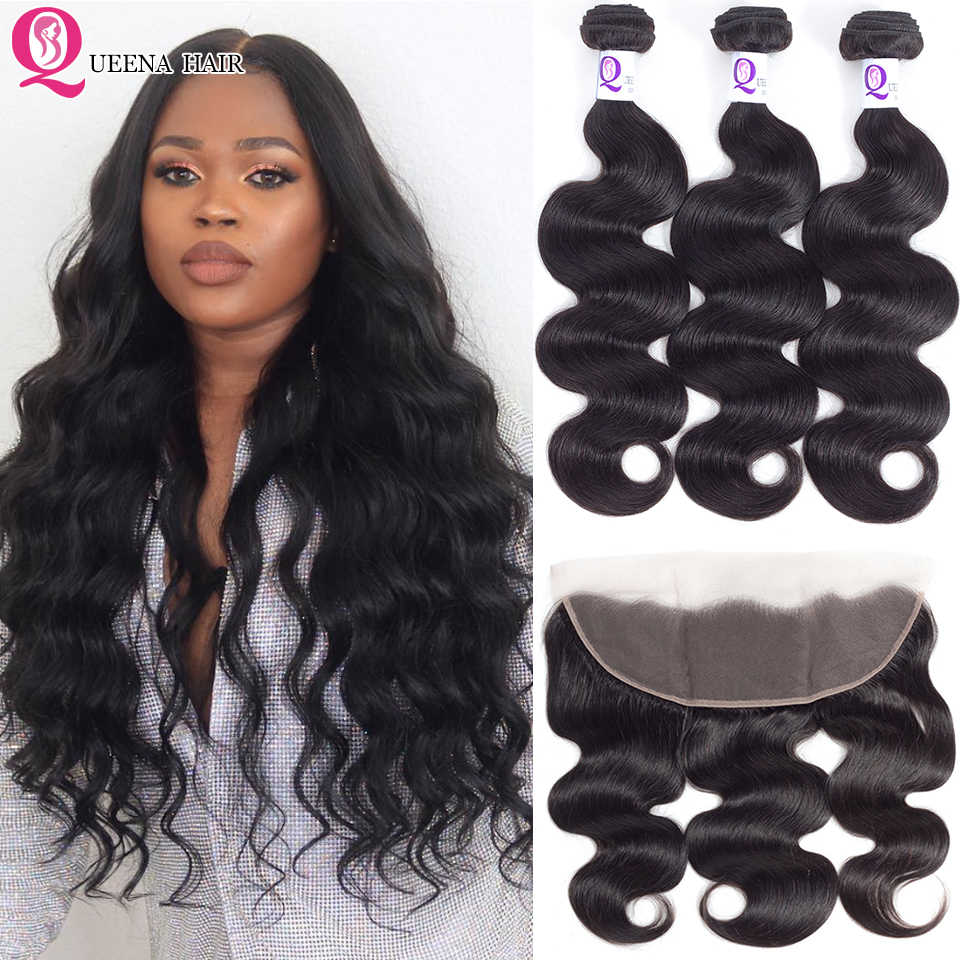 Pre Plucked Lace Frontal Closure With Bundles Peruvian Remy Hair Body Wave Weave Wavy 3 Bundles With Ear To Ear Frontal Closure