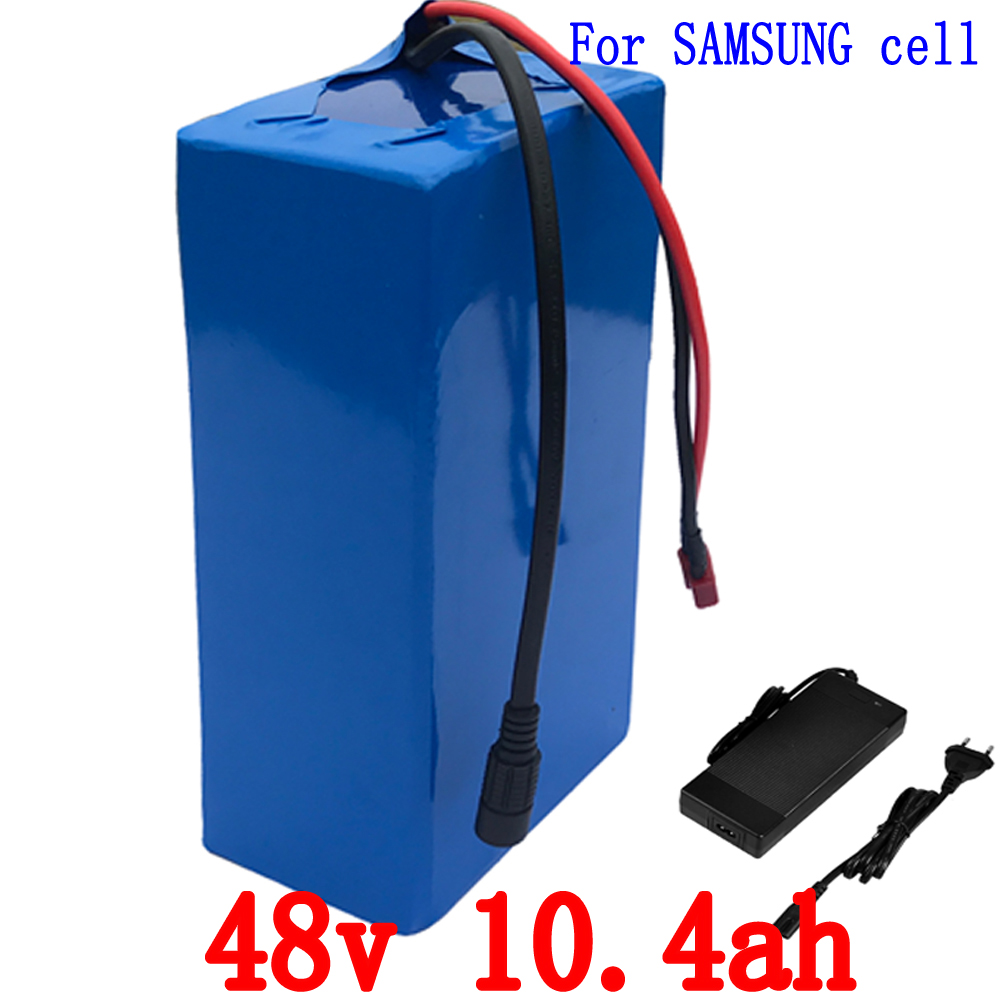 Free shipping 500W Lithium battery 48V 10.4AH electric bike battery for Samsung 2600mah cell  with 54.6V 2A Charger and 15A BMS battery 48v 14 5ah 1000w for panasonic cell lithium battery 48v with 2a charger built in 30a bms ebike battery 48v free shipping