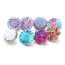 10pcs/lot Mixed Style Snap Jewelry Colorful Crystal Round 18mm Resin Buttons fit Bracelet Bangles 4279