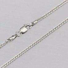 New Fine Pure AU750 White Gold 1.8mm W Wheat Chain Necklace