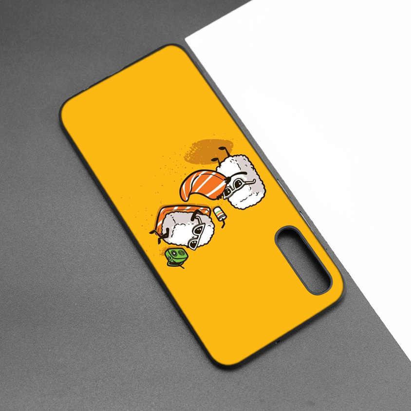 Suşi Japa yumuşak silikon samsung kılıfı Galaxy A7 A9 2018 A10 A20 A30 A40 A50 A60 A70 A80 A20E A90 5G not 10 M40 geri kabuk