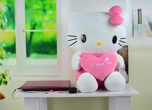 small lovely kitty toy stuffed dark pink kitty toy plush cat toy with heart birthday gift about 37cm