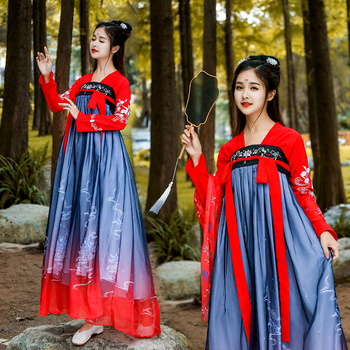 Qing Dynasty Hanfu Costume Chinese Traditional Tang Dynasty Ancient Dress Women Folk Fairy Dance Cosplay Performance Wear DL4134