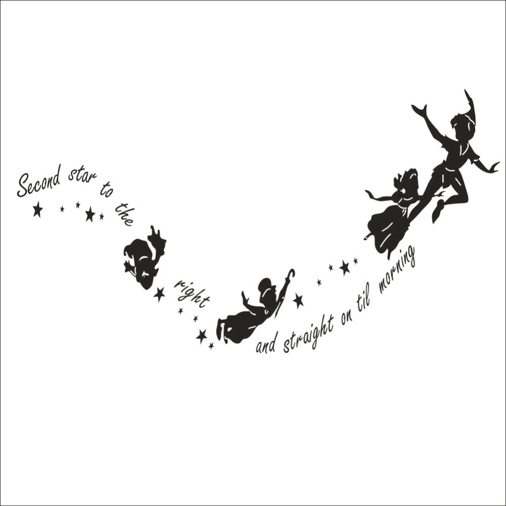 tinkerbell second star to the right peter pan wall decal sticker tinkerbell second star to the