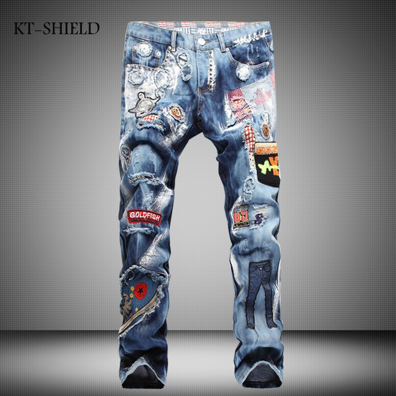 Fashion Mens design brand Slim fit Jeans pants Punk Badge Biker Ripped Casual Hip hop man trousers Cotton Masculina Pantalones black jeans men biker ripped hip hop casual man denim pants trousers slim fashion full length cotton masculina pantalones hombre