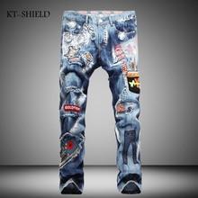 New Famous Brand Mens Jeans Italian Vintage Designer Ripped Biker Jeans Casual Pants Blue Color Cotton Printed Patchwork Jeans