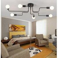 Sharelife 6 cabezas Retro Nostalgia Cafe Bar Luz de hierro forjado múltiples Rod personalidad creativa lámpara LED casa lámpara 6 H