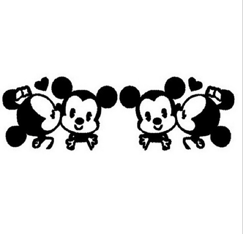 1 Pair Cute Black White Lovers Mickey Mouse Minnie Car Stickers For