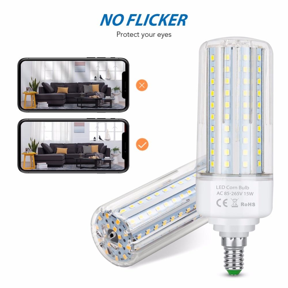 Power LED Lamp 5W 10W 15W 20W LED Corn Lamp Bulb E27 220V E14 LED Energy Saving Light Bulb 110V 45 75 120 138LEDS No Flicker